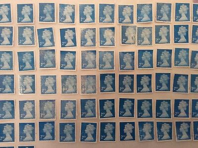 GB - 25 x 2nd Class stamps Unfranked Off Paper Partial gum
