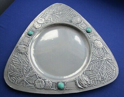 Aesthetic/Arts Crafts hand-made tray pewter foil & Ruskin type ceramic cabochon