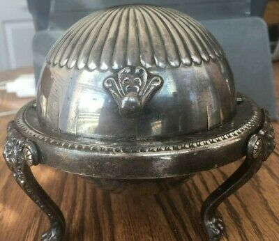 Vintage FB Rogers Silver Co Roll Top butter dish lions paws #273