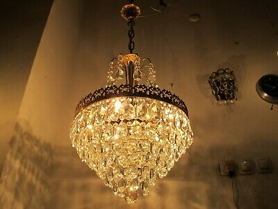 """Antique Vnt French Bohemian Crystal & Casting Brass Chandelier Lamp 1940s 16"""" dm"""