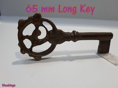 1 x Ornate key Antique Vintage Style Old Brass Furniture Approx . 65 mm Long
