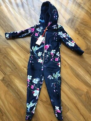 BNWT TED BAKER girls 4-5 YEARS NAVY BLUE FLORAL PRINT ONE PIECE