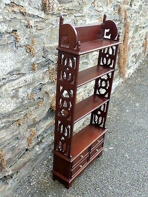 Small Solid Mahogany Book Shelf With 4 Drawers