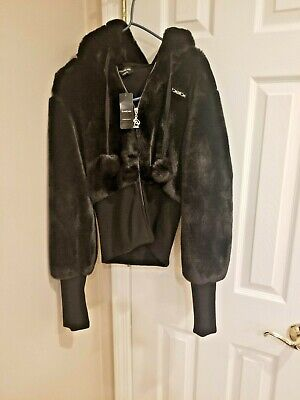 Bebe Faux Fur Jacket  Size LARGE New with Tags BLACK