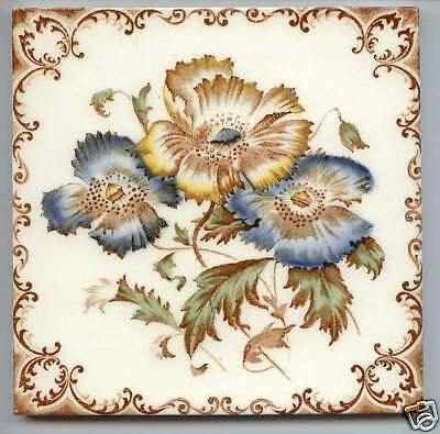 Reclaimed Antique Majolica transfer tile victorian aesthetic style flower 4color