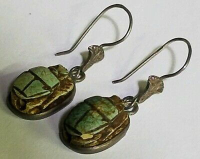 Egyptian OLD Faience Turquoise Scarab Sterling Silver earrings Egypt marked