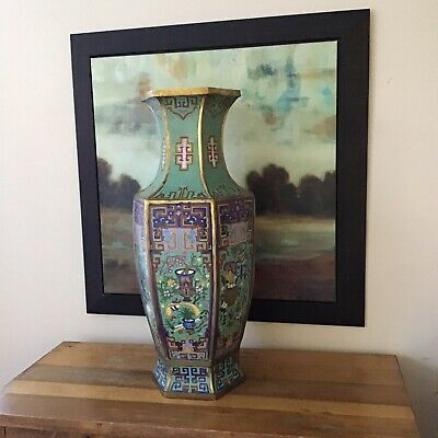 Large 18th or 19th Century Chinese Fine Bronze Cloisonne Enameled Vase Xuande MK