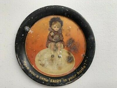 Early 1900s Antique Little Fairy Soaps Tin Litho Tip Tray with Label on back