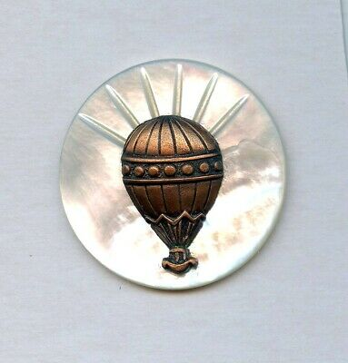 """SUPERB IRIDESCENT MOTHER of PEARL button w/ORNATE METAL HOT AIR BALLOON--1 1/2"""""""