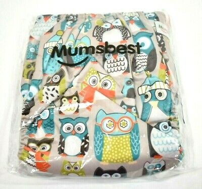 """Mumsbest One Size Adjustable Reusable """"Owls"""" Cloth Diaper with 1 insert  NWT"""