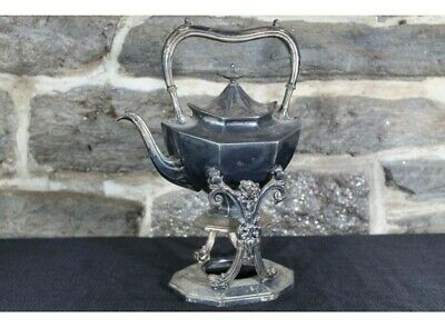 ANTIQUE SILVER reed Barton TILTING TEA POT WITH STAND stunning rare