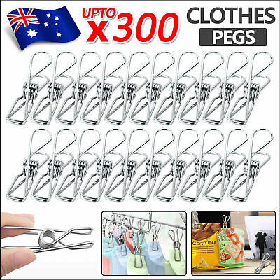 100/200PCS Stainless Steel Clothes Pegs Hanging Pins Clips Laundry Metal Clamps