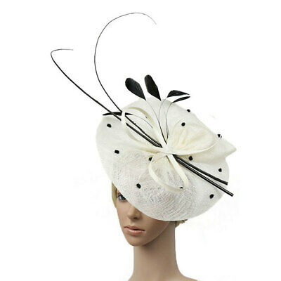 Women Feather Fascinator Hat Bowknot Flax Top Millinery Wedding Party Hair Clip