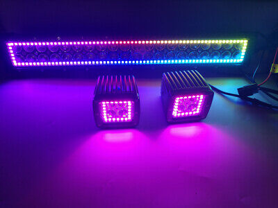 """22"""" Led Light Bar + 2x 3"""" Pods with RGB Halo Chasing Multi Color Remote Control"""