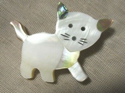 WONDERFUL XL MOTHER OF PEARL & ABALONE CAT BUTTON 1-3/4th inches (44.5mm) LAST 1