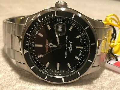 Invicta Pro Diver Swiss Made Black Dial Silver Bracelet SS 44mm Watch 25806