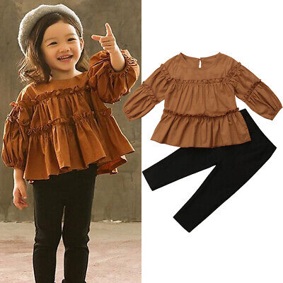 Toddler Kids Baby Girls T-shirt Tops+Skirt Dress Autumn Outfits Clothes 2PCS Set