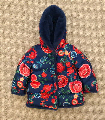 Oilily Girls Blue And Red Fur/ Padded Winter Coat Age 4