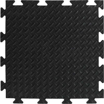 Diamond Surface Black Garage Flooring Interlocking Vinyl / PVC Heavy Duty Tile