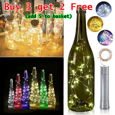 20LED Cork shaped Gin Wine Bottle Fairy String Lights Xmas Wedding Party Battery