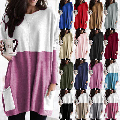 Womens Jumper Ladies Mini Dress Blouse Sweater Casual Shirt Long Tops Sweatshirt