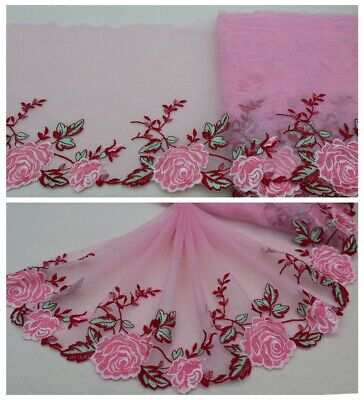 """7.5/""""*1Y Embroidered Floral Tulle Lace Trim~White+Light Pink~Sweet Aroma~SALE~"""
