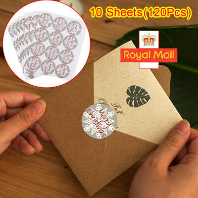 120 Round Labels 'MERRY CHRISTMAS' Snowflake Gift Seal Xmas Present Stickers HOT