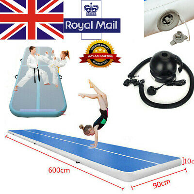 Inflatable Air Track Tumbling Gymnastic Mat Home Floor Training Track Blue White