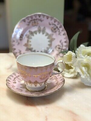 ANTIQUE VINTAGE TRIO CUP SAUCER PLATE AFTERNOON HIGH TEA GLADSTONE Bone China