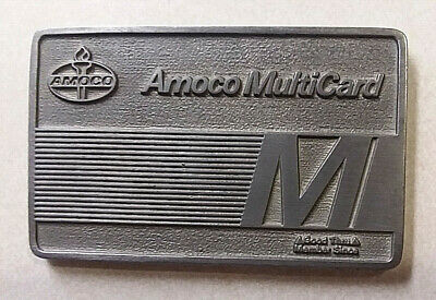 Amoco Oil Company Multicard Credit Card Promotional Cast Metal Paperweight