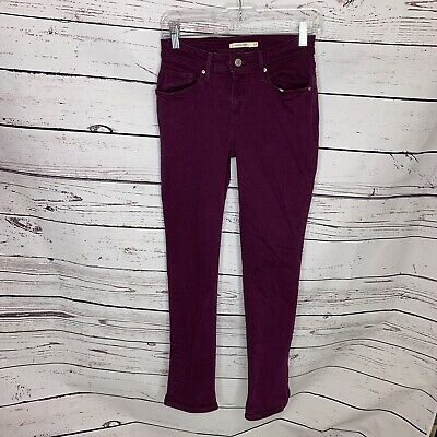 Levis Womens Size 27 Purple Colored Mid Rise Skinny Slim Jeans Stretch H34
