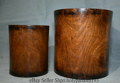 "7.2"" Old Chinese huanghuali Wood Carving Palace Brush Pot Pencil Vase Full Set"