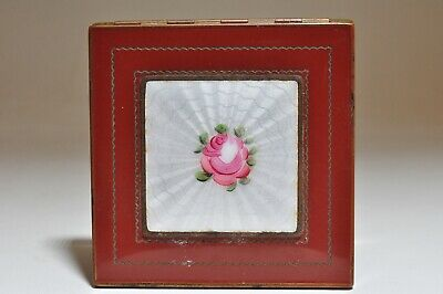 Vintage Shields Guilloche Rose Enamel Mirrored Powder Compact