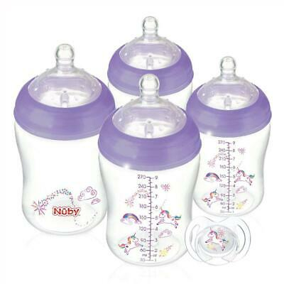 Nuby Natural Touch Unicorn Bottle Set, 4 x 270ml Bottles + Soother