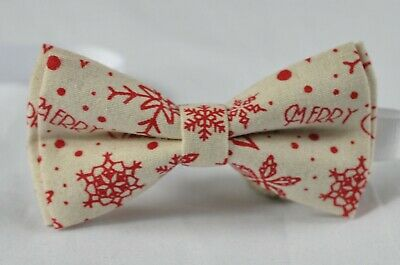Youth Teenage Red Snowflake Beige Xmas Christmas Bow tie Fits 7-14 Years Old