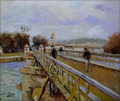 Hand Painted Oil Painting, Alfred Sisley Footbridge at Argenteuil Repro 20x24in
