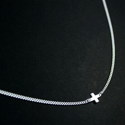 GENUINE 925 Sterling Silver Cross Pendant Curb Chain Choker Necklace UK New