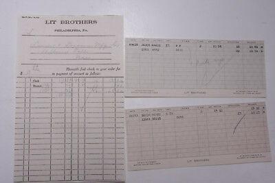 1931 Lamson Goodnow Check Stubs Lit Brothers Philadelphia PA Ephemera L687K