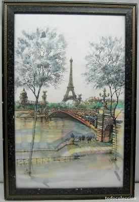 Tour Eiffel Paris France 57 x 38 cm Aquarelle signé BINET