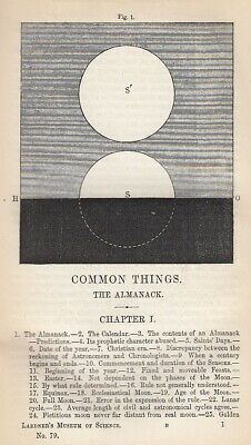 The Almanac. A rare original article from the Museum of Science & Art, 1855. 185
