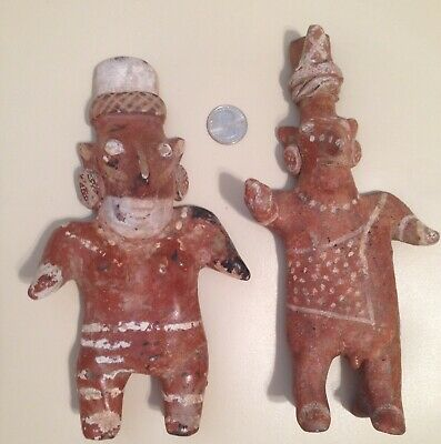 Pre-Columbian Jalisco Rare Large Male & Female Sheepface Effigy Pottery Figures