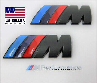 2 x M Badge Metal Emblem Logo M-Power Matte Black Fits BMW M2 M3 M4 M5 M6