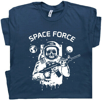 Space Force T Shirt US Military Astronaut Skull Cool Vintage Marines Army Men