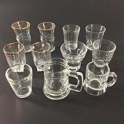 Vintage Clear Shot Cordial Bar Glasses Assorted Mixed Lot of 11