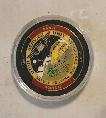 Rare 2013 Union Pacific Railroad Utah Service Unit Challenge Coin In Holder