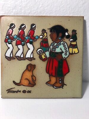 Cleo Teissedre 1985 Hand Painted Ceramic Tile Southwest ~ Child& Dog