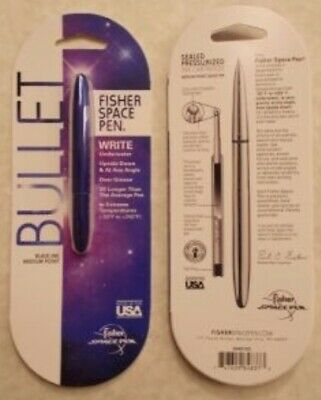 Fisher Bullet Space Pen BLUE Finish Medium Brand New Black Ink.