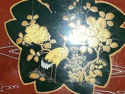 Antique Chinese or Japanese Lacquered Box With Gold Colour Birds and Fauna