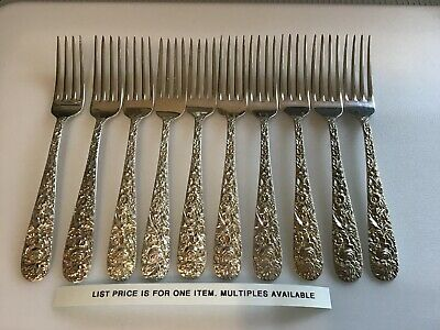 "1 S Kirk & Son Repoussé Sterling Silver 7-1/4"" Dinner Lunch Fork No Mono"