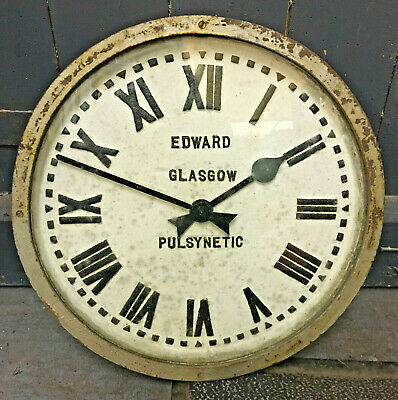 Vintage Industrial Cast Iron Pulsynetic Wall Clock - Edward of Glasgow - Working